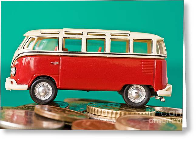 Leasing Greeting Cards - Car On The Pile Of Coins Greeting Card by G J