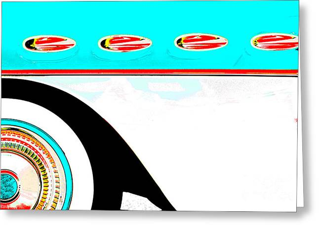 Collector Car Mixed Media Greeting Cards - Vintage Americar Car Pop art blue and white Greeting Card by ArtyZen Studios - ArtyZen Home