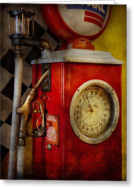 Gallons Greeting Cards - Car - Station - 19 Gallons  Greeting Card by Mike Savad
