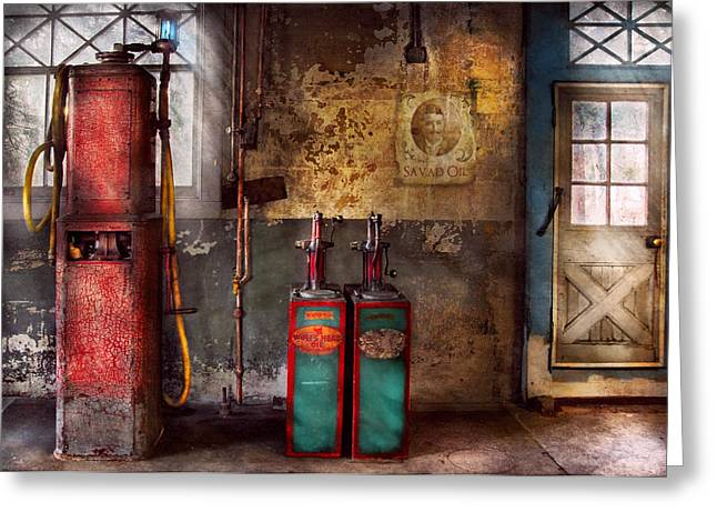 Car - Station - Gas Pumps Greeting Card by Mike Savad