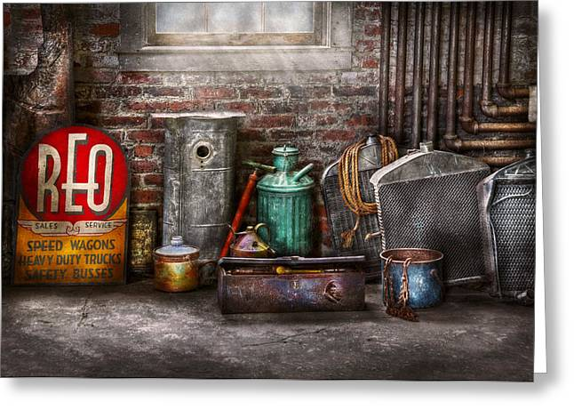 Toolbox Greeting Cards - Car - Station - I fix cars  Greeting Card by Mike Savad