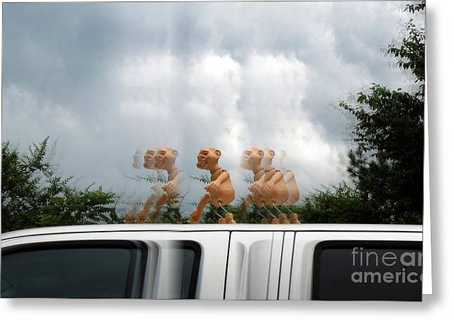 Feisty Greeting Cards - Car Surfing Greeting Card by Renee Trenholm