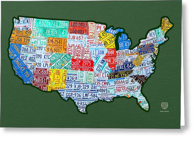 Car Tag Number Plate Art USA on Green Greeting Card by Design Turnpike