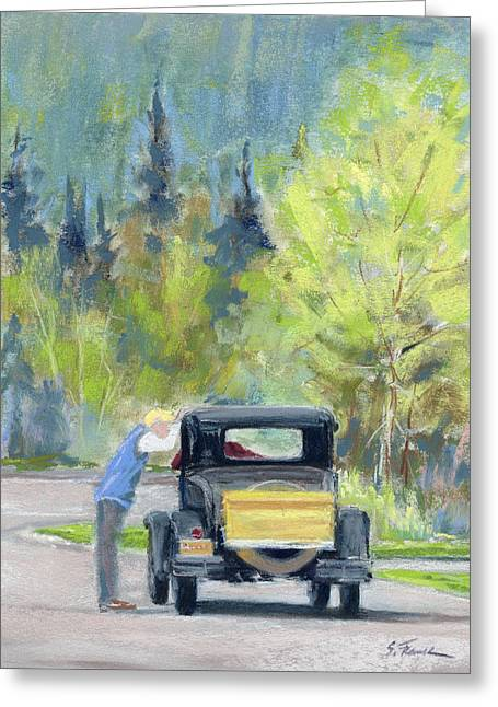 Driving Pastels Greeting Cards - Car Talk Greeting Card by Susan Frank