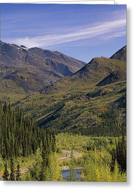 Scenic Drive Greeting Cards - Car W Canoe On Top Driving Dempster Hwy Greeting Card by Kevin Smith