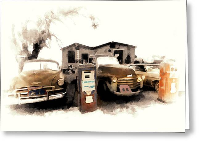 Old Roadway Greeting Cards - Car Wash On Route 66 Greeting Card by Ron Regalado