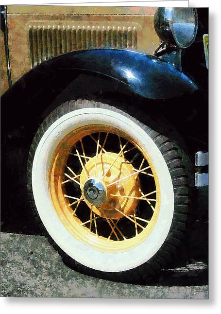 Automobile Greeting Cards - Car Wheel Closeup Greeting Card by Susan Savad