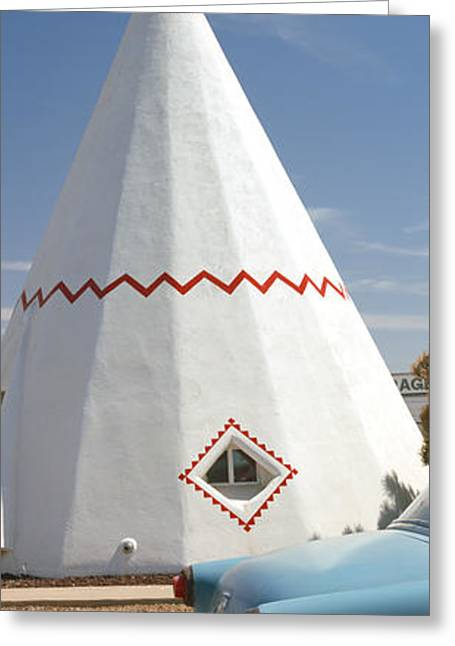 Parts Of Cars Greeting Cards - Car With A Teepee In The Background Greeting Card by Panoramic Images