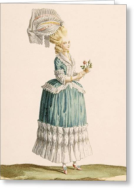 C18th Drawings Greeting Cards - Caraco A La Polanaise, Engraved Greeting Card by Claude Louis Desrais