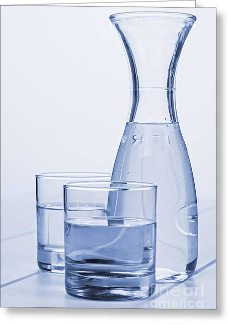 Carafe Greeting Cards - Carafe of Water and Two Glasses Greeting Card by Colin and Linda McKie