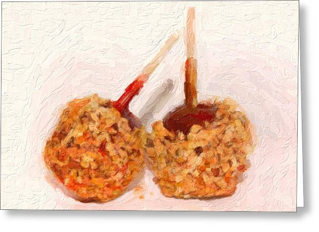 Candy Apples Greeting Cards - Caramel Candy Apple Greeting Card by Gravityx9 Designs