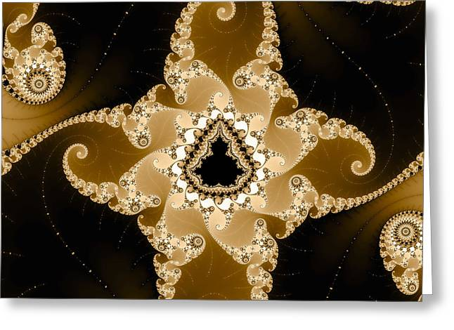 Sienna Greeting Cards - Caramel colored fractal art square format Greeting Card by Matthias Hauser