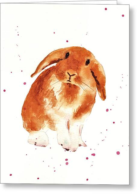 Caramel Cuddles Bunny Greeting Card by Alison Fennell