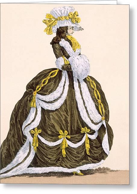 Caramel Dress For Presentation Greeting Card by Augustin de Saint-Aubin