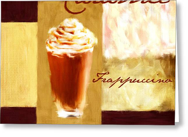 Downtown Cafe Greeting Cards - Caramel Frap Greeting Card by Lourry Legarde