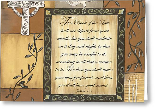 Doves Paintings Greeting Cards - Caramel Scripture Greeting Card by Debbie DeWitt