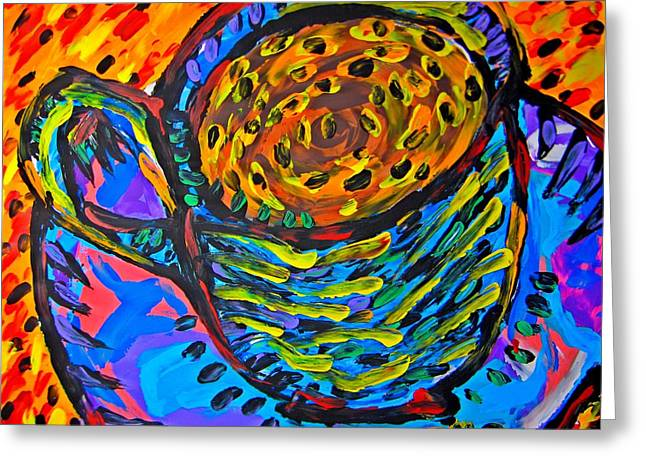Food Safe Greeting Cards - Caramelo Cup Greeting Card by Mosav Art