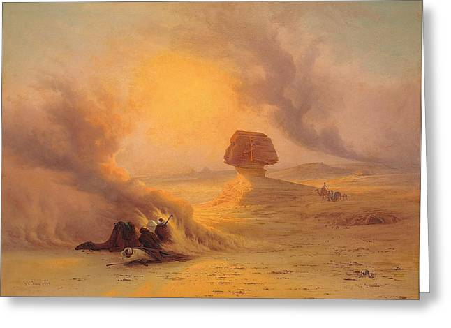 Sandstorm Greeting Cards - Caravan caught in the Sinum wind near Gizah Greeting Card by Johann Jakob Frey