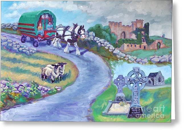 True Cross Paintings Greeting Cards - Caravan Dream  Come True Greeting Card by Sylvina Rollins