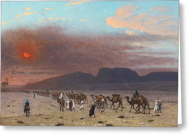 Gerome Greeting Cards - Caravan in the Desert Greeting Card by Jean-Leon Gerome