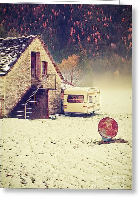 Wintry Photographs Greeting Cards - Caravan in the snow with house and wood Greeting Card by Silvia Ganora