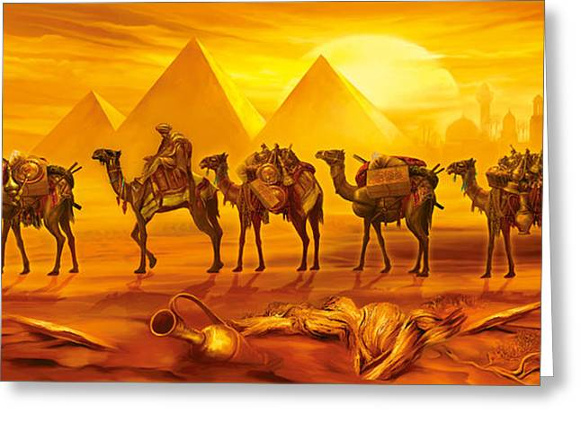 Sand Art Greeting Cards - Caravan Greeting Card by Jan Patrik Krasny