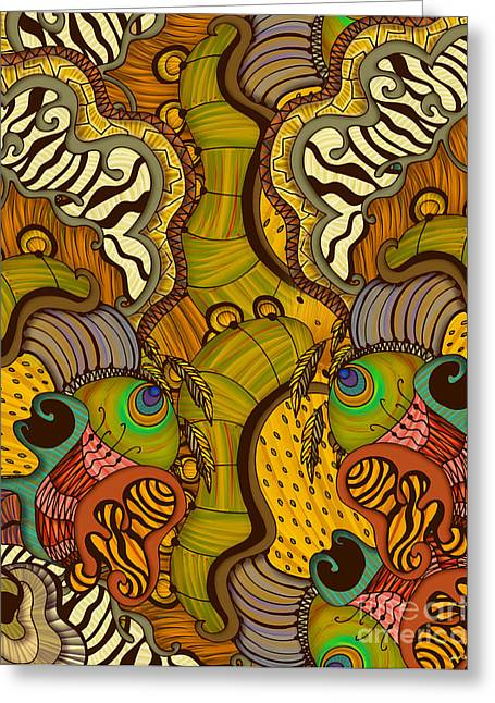 Abstract Nature Tapestries - Textiles Greeting Cards - Caravan Pattern Greeting Card by Janet Antepara