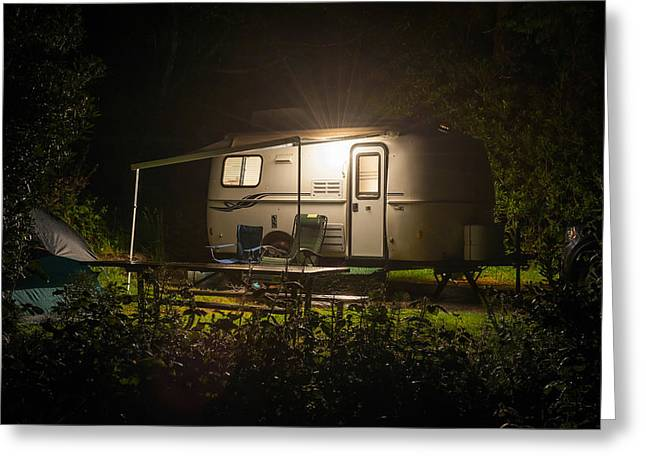 State Parks In Oregon Greeting Cards - Caravan trailer glowing in forest camp site night Greeting Card by William Fawcett