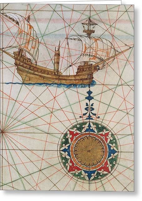 Points Drawings Greeting Cards - Caravel in ocean Greeting Card by Lazaro Luis