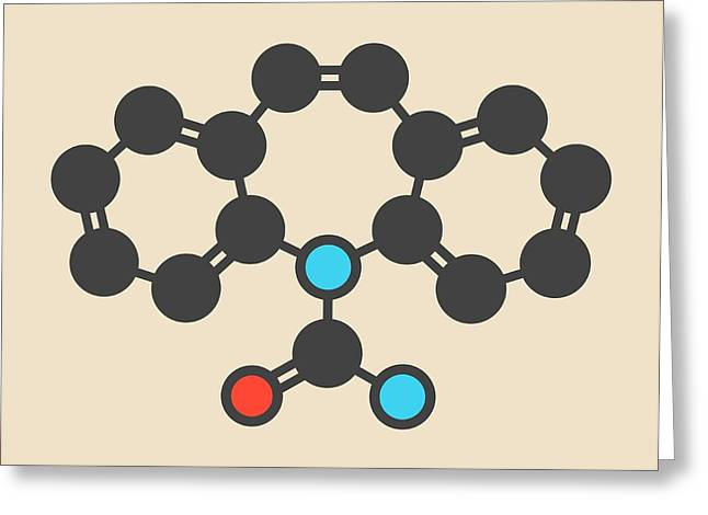 Carbamazepine Anticonvulsant Molecule Greeting Card by Molekuul