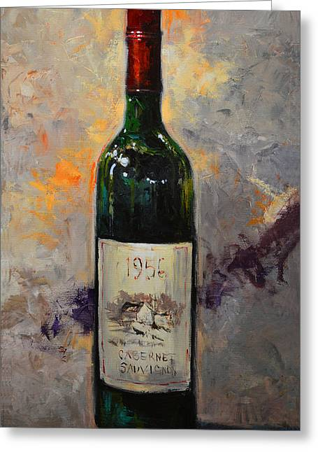 Red Wine Prints Greeting Cards - Carbernet Sauvignon wine Greeting Card by Kanayo Ede