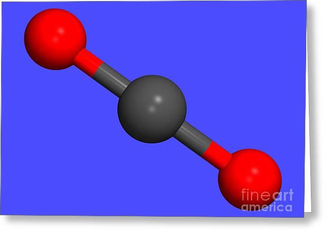 Carbon Dioxide Greeting Cards - Carbon Dioxide, Computer Molecular Model Greeting Card by Dr. Tim Evans