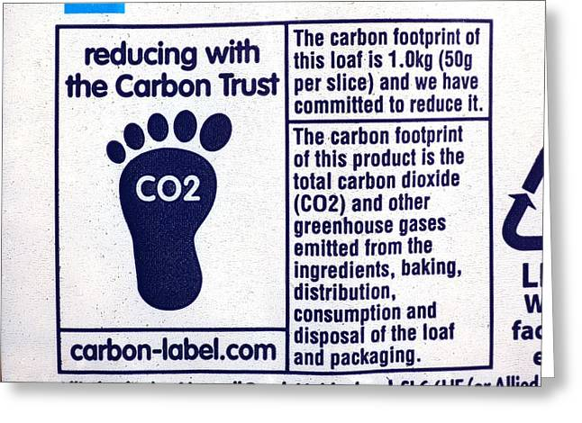 Label Greeting Cards - Carbon footprint label Greeting Card by Science Photo Library