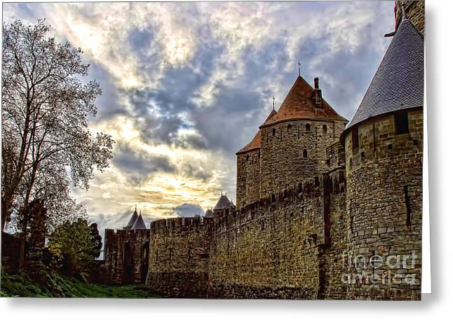 Languedoc Greeting Cards - Carcassone Medieval City Greeting Card by Alexandra Jordankova