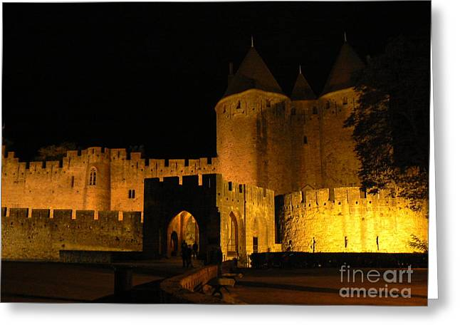 Mediterranean Greeting Cards - Carcassonne at Night Greeting Card by France  Art