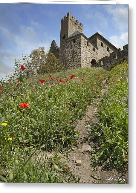 Medieval City Greeting Cards - Carcassonne Poppies Greeting Card by Robert Lacy