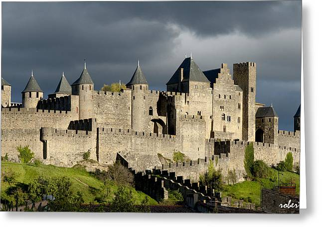 Medieval City Greeting Cards - Carcassonne Stormy Skies Greeting Card by Robert Lacy
