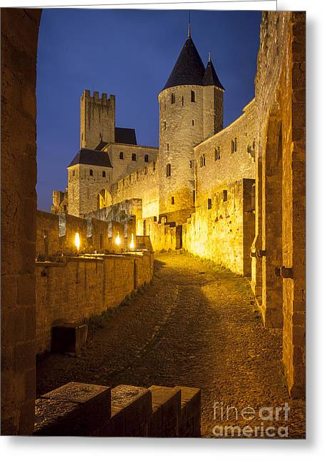 Languedoc Greeting Cards - Carcassonne Twilight Greeting Card by Brian Jannsen