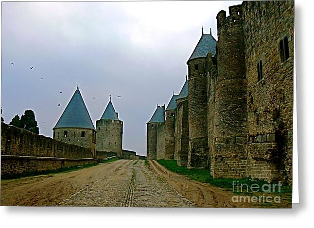 Wine Tour Greeting Cards - Carcassonne Walls Greeting Card by France  Art