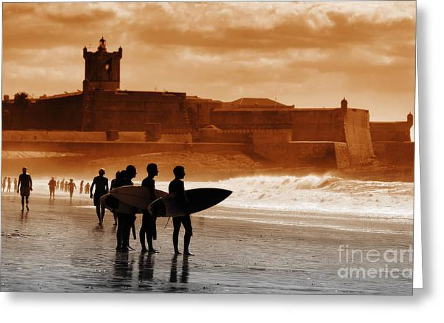 Surf Lifestyle Greeting Cards - Carcavelos Surfers Greeting Card by Carlos Caetano