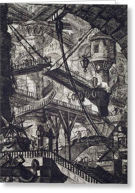 Spiral Staircase Drawings Greeting Cards - Carceri VII Greeting Card by Giovanni Battista Piranesi