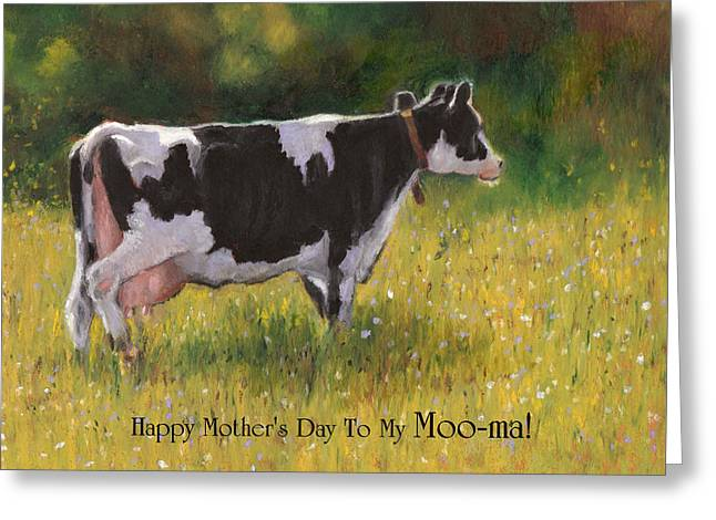 Farmer Pastels Greeting Cards - Card for Mom with Cow and Pun Greeting Card by Joyce Geleynse