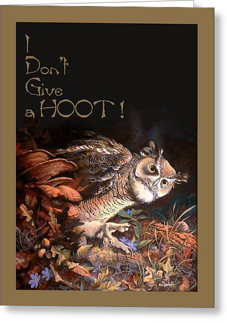 Great Horned Owl Greeting Cards - Card for Old Hoot Greeting Card by K H Catlett