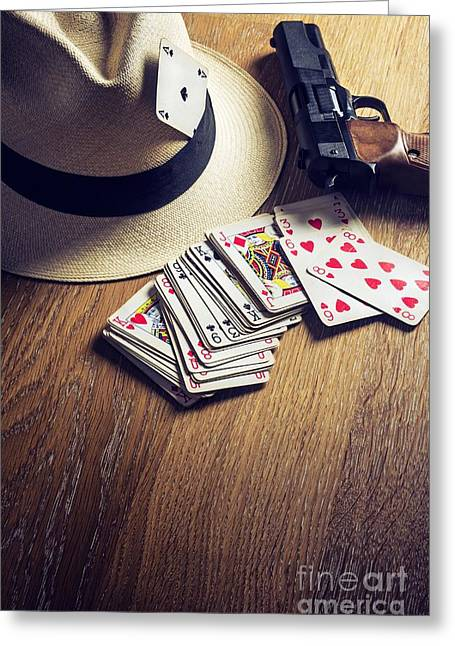 Gunman Greeting Cards - Card Gambling Greeting Card by Carlos Caetano