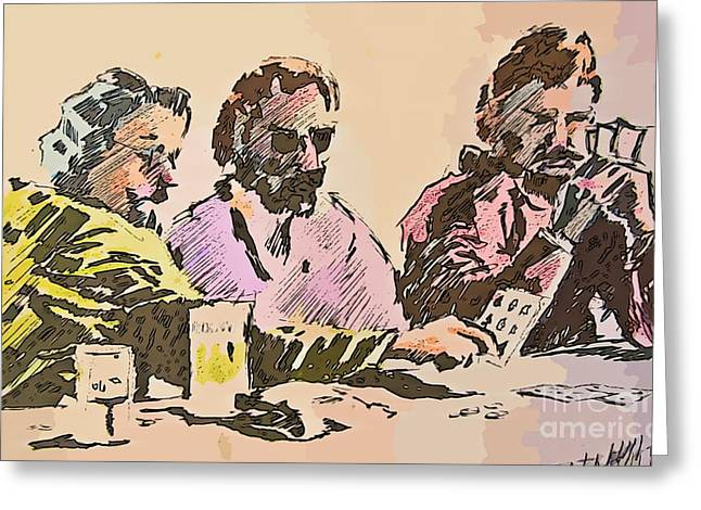 Playing Cards Drawings Greeting Cards - Card Players Greeting Card by John Malone