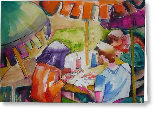 Card Players Greeting Card by Suzanne Willis