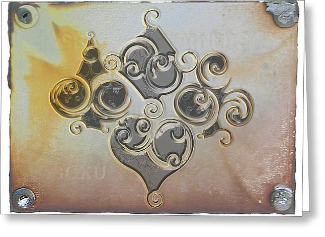 Playing Cards Mixed Media Greeting Cards - Card Suits Embossed Metal Look Greeting Card by Maria Eames
