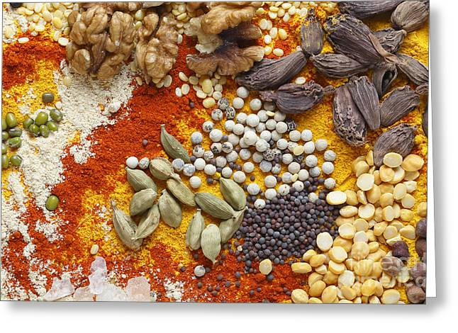 From Seed Greeting Cards - Cardamoms nuts and spices for asian food Greeting Card by Paul Cowan