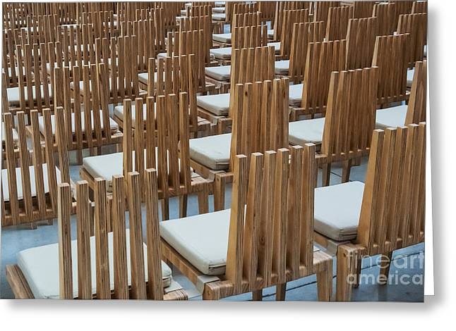Cardboard Greeting Cards - Cardboard Cathedral Chairs Greeting Card by Bob Phillips