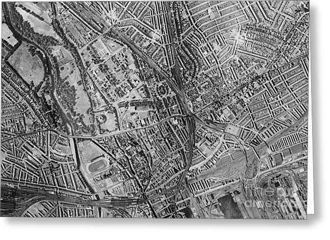 Post-war Greeting Cards - Cardiff, Historical Aerial Photograph Greeting Card by Getmapping Plc
